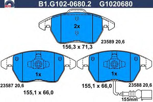 Galfer Колодки тормозные дисковые. B1G10206802B1G10206802