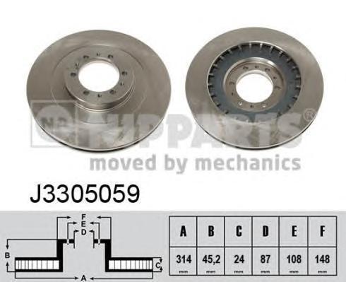 Диск тормозной передний вентилируемый Nipparts J3305059 комплект 2 штJ3305059