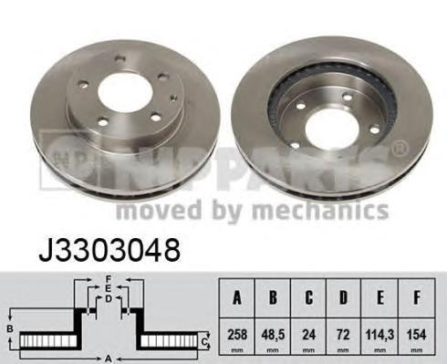 Диск тормозной передний вентилируемый Nipparts J3303048 комплект 2 штJ3303048