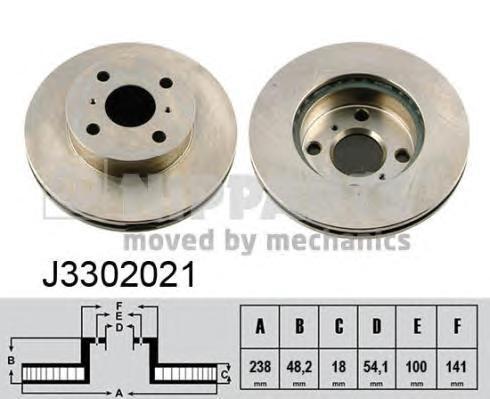 Диск тормозной передний вентилируемый Nipparts J3302021 комплект 2 штJ3302021