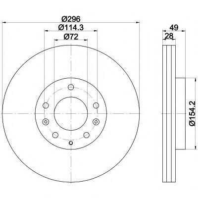 Диск тормозной Behr-Hella Pro, 2 шт. 8DD355115-7818DD355115-781