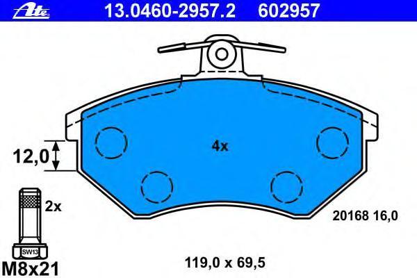 Колодки тормозные дисковые Ate 1304602957213046029572