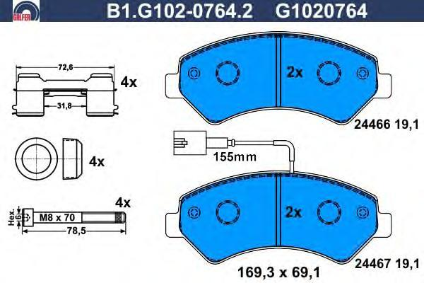 Колодки тормозные Galfer B1G10207642B1G10207642
