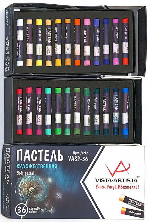 Vista-Artista Набор пастели 36 цветов VASP-36VASP-36Пастель художественная VISTA-ARTISTA предназначена для живописи и декоративно-прикладного творчества. Изготовлена из натуральных природных пигментов. Обладает бархатистостью, насыщенностью оттенков и хорошими покрывными свойствами. Подходит для бумаги и картона. Прекрасно растушевывается и дает четкий штрих. Пастель можно размывать водой, а также рисовать по мокрой поверхности. Отлично сочетается с другими материалами [акварелью, чернилами, акрилом, гуашью, цветными и акварельными карандашами].