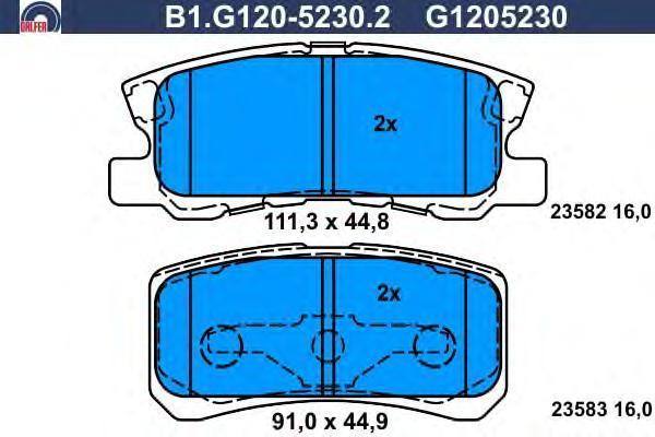 Колодки тормозные дисковые Galfer B1G12052302B1G12052302