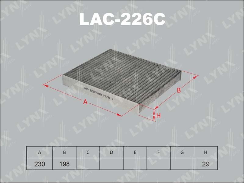 Фильтр салона Lynx LAC226C фильтр воздушный lynx la113