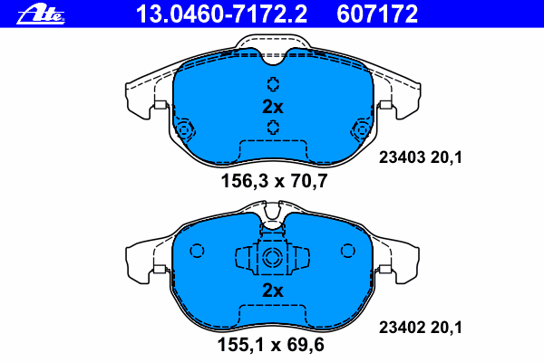 Колодки тормозные дисковые Ate 1304607172213046071722