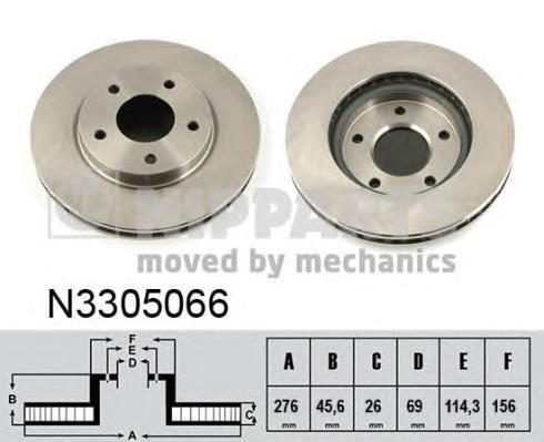 Диск тормозной передний Nipparts N3305066 комплект 2 штN3305066