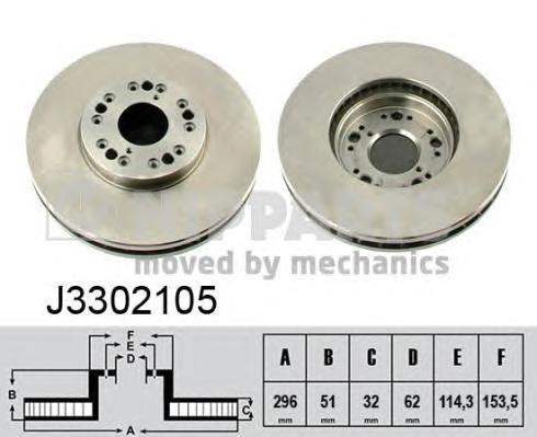Диск тормозной передний вентилируемый Nipparts J3302105J3302105