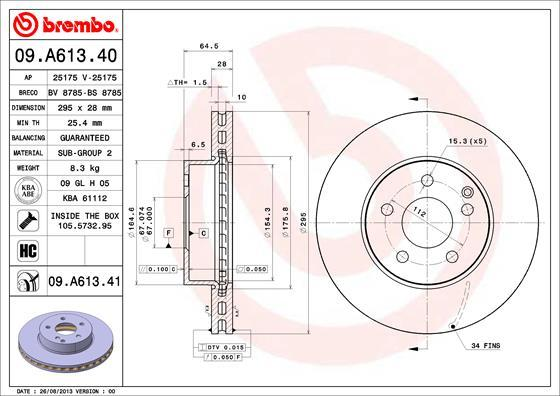 Диск тормозной Brembo 09A6134109A61341