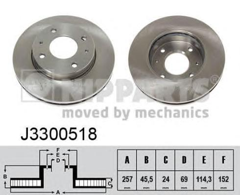 Диск тормозной передний Nipparts J3300518 комплект 2 штJ3300518