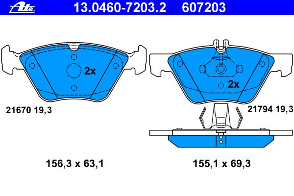 Колодки тормозные дисковые Ate 1304607203213046072032