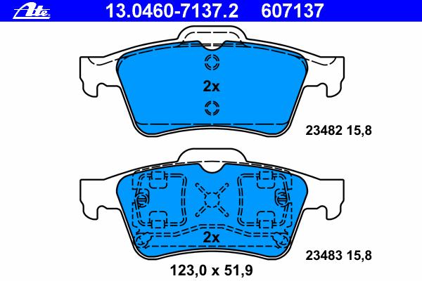 Колодки тормозные дисковые Ate 1304607137213046071372
