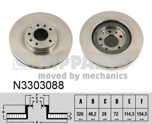 Диск тормозной передний Nipparts N3303088 комплект 2 штN3303088