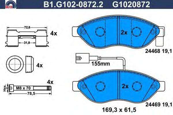 Колодки тормозные Galfer B1G10208722B1G10208722