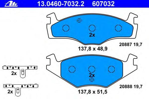 Колодки тормозные дисковые Ate 1304607032213046070322