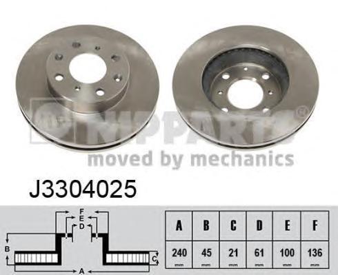 Диск тормозной передний вентилируемый Nipparts J3304025 комплект 2 штJ3304025