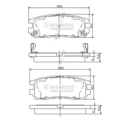 Колодки тормозные задние Nipparts J3619001J3619001