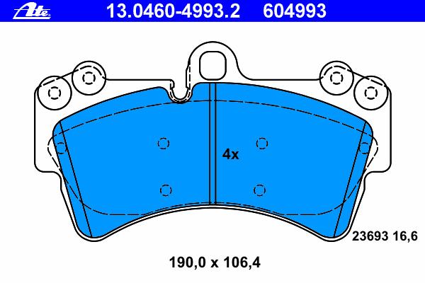 Колодки тормозные дисковые Ate 1304604993213046049932