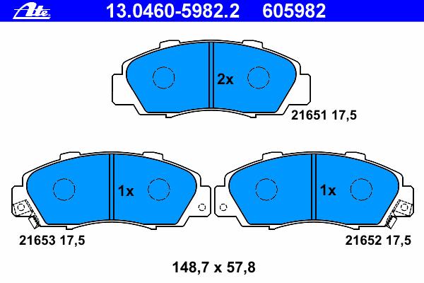 Колодки тормозные дисковые Ate 1304605982213046059822