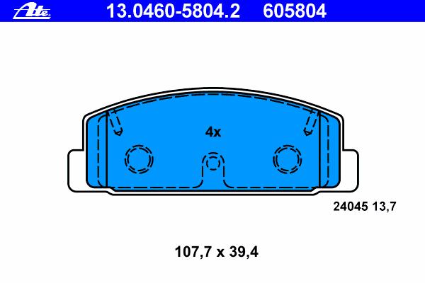 Колодки тормозные дисковые Ate 1304605804213046058042