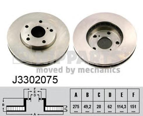 Диск тормозной передний вентилируемый Nipparts J3302075 комплект 2 штJ3302075