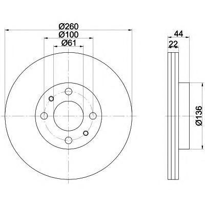 Диск тормозной Pro BEHR-HELLA 8DD355109331 комплект 2 шт8DD355109331