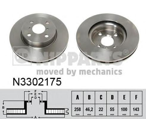 Диск тормозной передний Nipparts N3302175N3302175