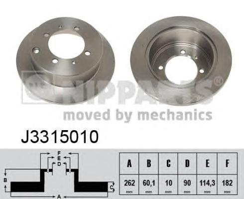 Диск тормозной задний Nipparts J3315010 комплект 2 штJ3315010