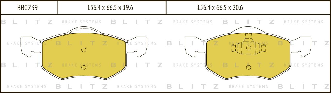 Колодки тормозные дисковые BLITZ автотовары BB0239BB0239