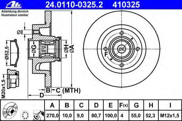 Диск тормозной Ate 24011003252 комплект 2 шт24011003252