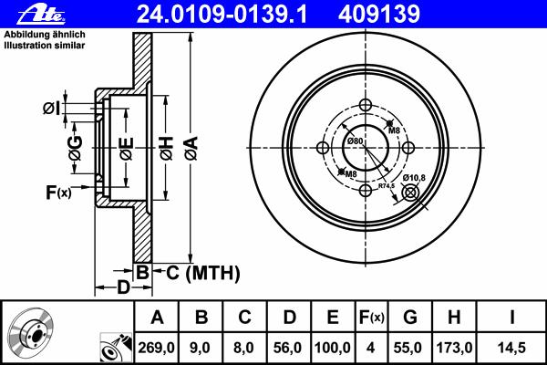 Диск тормозной Ate 24010901391 комплект 2 шт24010901391