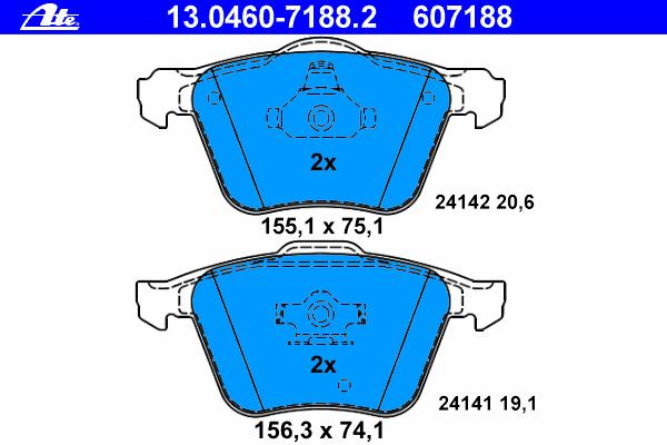 Колодки тормозные дисковые Ate 1304607188213046071882