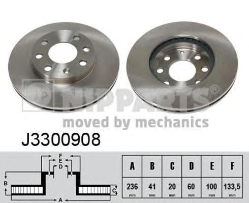 Диск тормозной передний вентилируемый Nipparts J3300908 комплект 2 штJ3300908