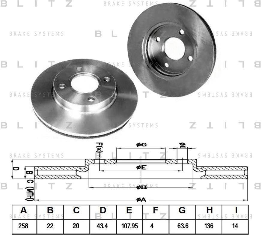 Диск тормозной BLITZ автотовары BS0162BS0162