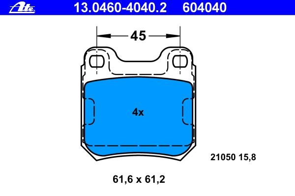 Колодки тормозные дисковые Ate 1304604040213046040402