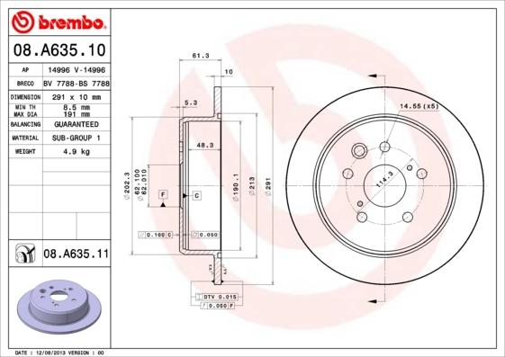 Диск тормозной задний Brembo 08A6351008A63510