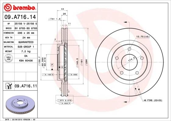 Диск тормозной передний Brembo 09A71614 комплект 2 шт09A71614