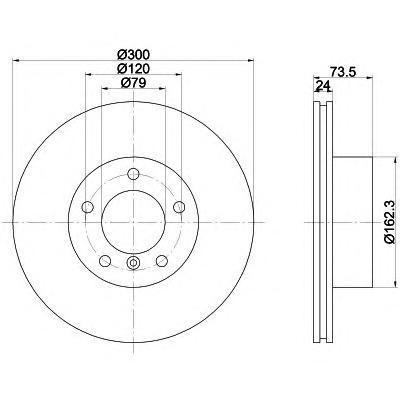 Диск тормозной Pro BEHR-HELLA 8DD355111921 комплект 2 шт8DD355111921