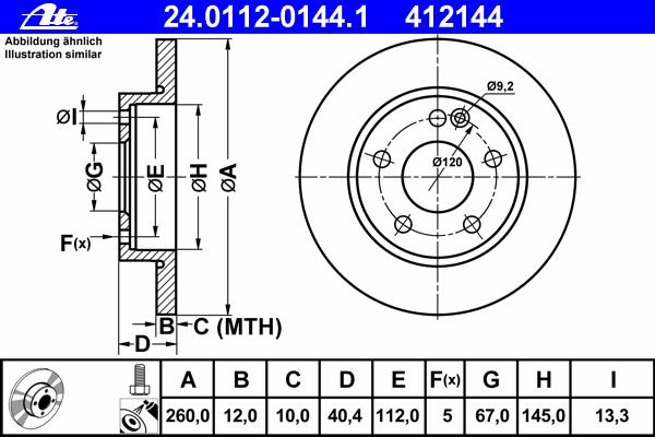 Диск тормозной Ate 24011201441 комплект 2 шт24011201441