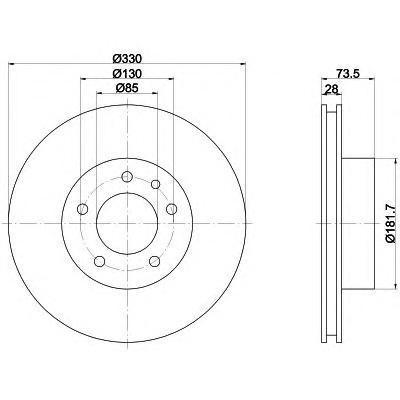 Диск тормозной Pro BEHR-HELLA 8DD355109821 комплект 2 шт8DD355109821
