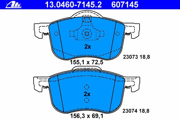 Колодки тормозные дисковые Ate 1304607145213046071452