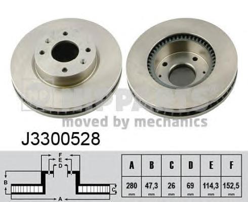 Диск тормозной передний вентилируемый Nipparts J3300528 комплект 2 штJ3300528