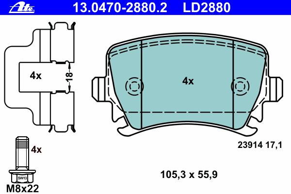 Колодки тормозные CERAMIC Ate 1304702880213047028802