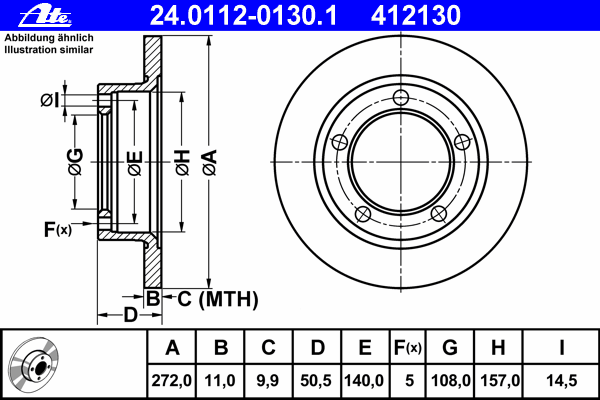 Диск тормозной Ate 24011201301 комплект 2 шт24011201301
