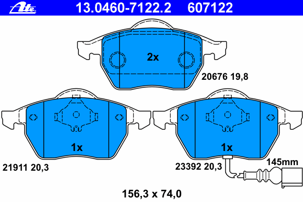 Колодки тормозные дисковые Ate 1304607122213046071222