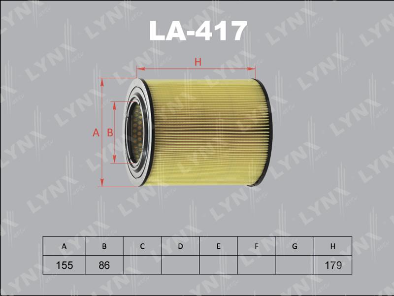 Фильтр воздушный Lynx LA417 фильтр воздушный lynx la113