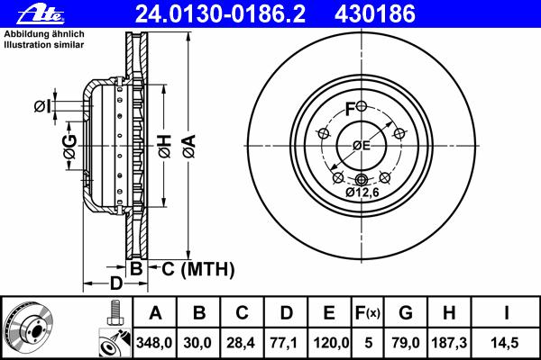 Диск тормозной Ate 24013001862 комплект 2 шт24013001862