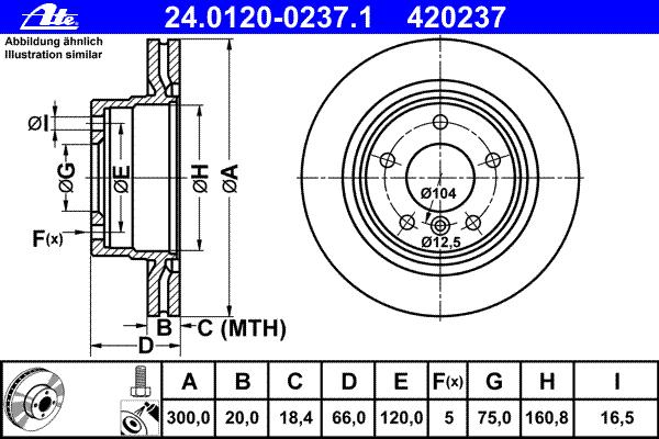 Диск тормозной задний вентилируемый Ate 2401200237124012002371