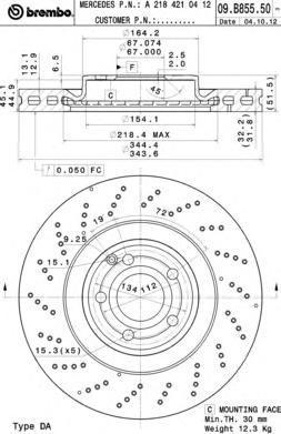 Диск тормозной передний Brembo 09B8555109B85551